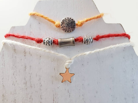 Charm Bracelet Set of 3 - Sun, Star - Hemp, Ribbon Cord - Comes in Gift Bag - Queen Bunnybee's Gifts