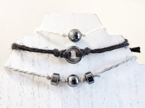 Hemp Ribbon Cord Bracelet Set of 3 - Black, Grey & White with Hematite Beads - in Gift Bag - Queen Bunnybee's Gifts