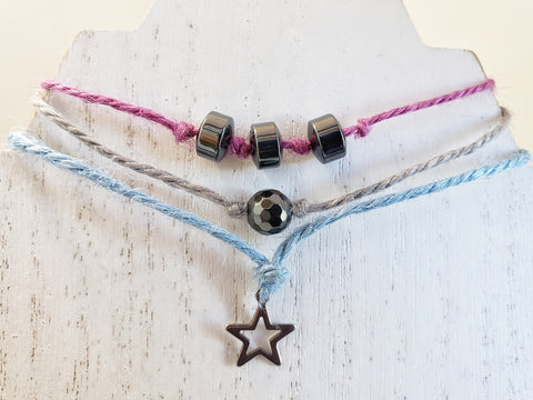 Hemp Bracelet Stacked Set of 3 - Star with Hematite Beads- Hemp Ribbon Cord - Comes in Gift Bag - Layering Jewelry - Queen Bunnybee's Gifts
