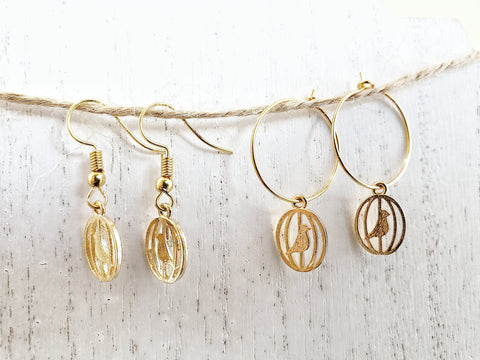 Bird in a Cage Earrings - Gold Hoops or Ear Wires - Queen Bunnybee's Gifts