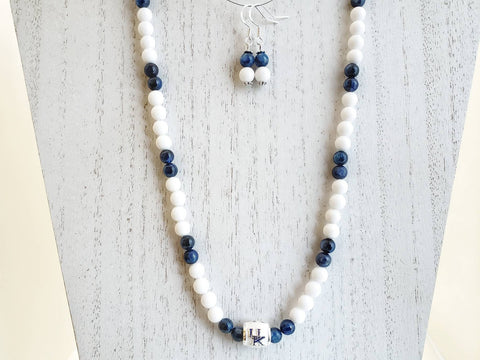 University of Kentucky Gemstone Bead Necklace & Earrings Set - White Jade, Kyanite and U of K Bead - Sterling Silver Ear Wires - in Gift Box - Queen Bunnybee's Gifts