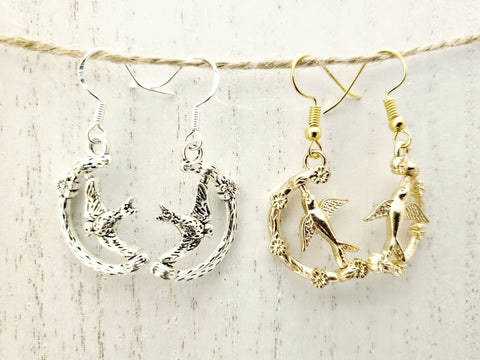 Bird Earrings - Rotating - Spinners - Sterling Silver or Gold Ear Wires - in Gift Bag - Queen Bunnybee's Gifts