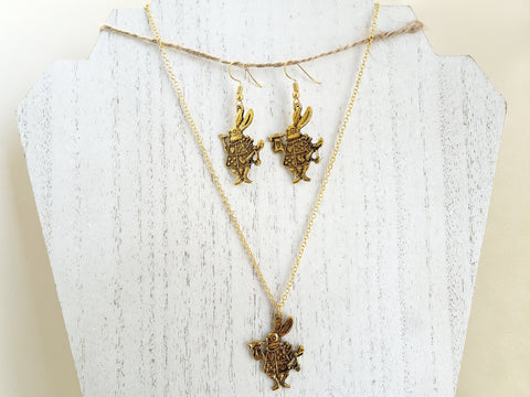 White Rabbit Jewelry Set - Gold Necklace and Earrings - Alice in Wonderland - Queen Bunnybee's Gifts