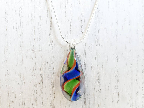 Hand Blown Glass Pendant on Sterling Silver Necklace - Lampwork - Queen Bunnybee's Gifts