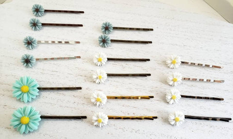 Daisy Bobby Pins - Silver, Bronze, Gold, White, Blue - Queen Bunnybee's Gifts