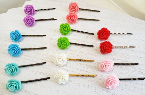 Rose Bobby Pins - Choice of Color - in Gift Bag - Flower Hair Pins - Queen Bunnybee's Gifts