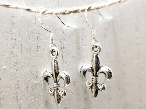 Fleur De Lis Earrings - Sterling Silver Ear Wire - in a Gift Bag - Queen Bunnybee's Gifts