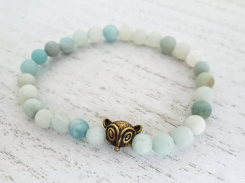 Bronze Fox and Matte Amazonite Stretchy Bracelet - 7 Inches - in Gift Bag - Queen Bunnybee's Gifts