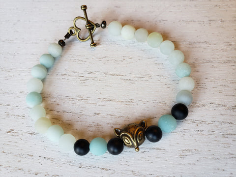 Fox Bracelet with Frosted Amazonite, Frosted Black Agate or Amazonite & Amethyst - Bronze Heart Toggle Clasp - in Gift Box - Queen Bunnybee's Gifts