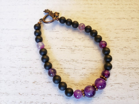 Black Agate & Purple Stripe Agate Bracelet - Red Copper Flower Toggle Clasp - Queen Bunnybee's Gifts