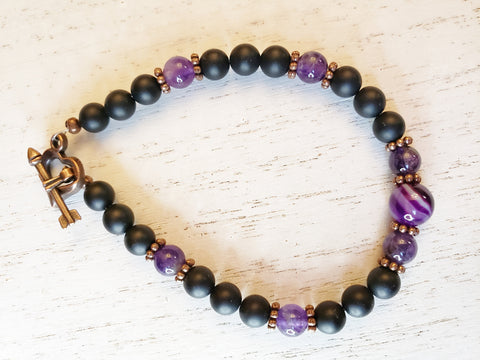 Black Agate, Purple Stripe Agate Bracelet - Red Copper Heart w Arrow Toggle Clasp - Queen Bunnybee's Gifts