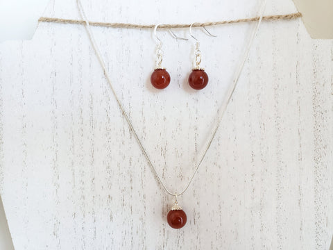 Carnelian and 925 Silver Necklace and Earring Set - Queen Bunnybee's Gifts