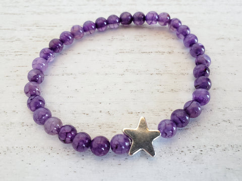 Star Bracelet - Purple Dragon Vein Agate - in Gift Bag - Stacking or Layering Jewelry - Queen Bunnybee's Gifts