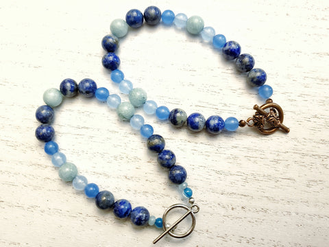 Lapis Lazuli, Aquamarine Bracelet with Silver or Red Copper Toggle Clasp - Queen Bunnybee's Gifts