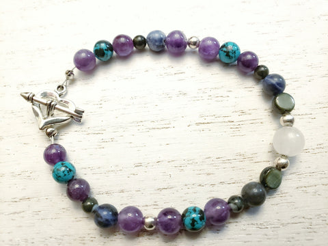 Amethyst, Sodalite, White Quartz Crystal - Heart with Arrow Toggle Clasp - Bracelet - Queen Bunnybee's Gifts