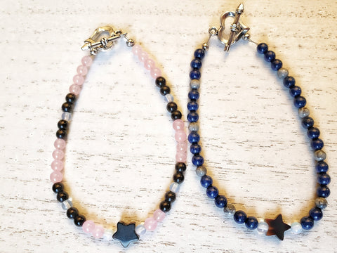 Star Bracelet - Lapis Lazuli or Rose Quartz - Silver Toggle Heart Clasp - Queen Bunnybee's Gifts