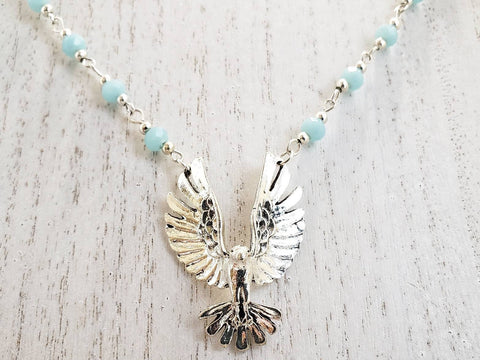 Bird Necklace - Silver Bead Chain - Queen Bunnybee's Gifts