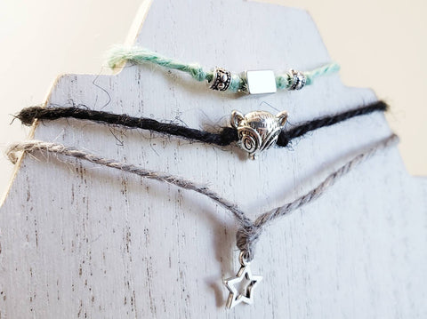 Hemp Bracelet - Stacked Set of 3 - Star, Fox - Hemp, Ribbon Cord - Layering Jewelry - Queen Bunnybee's Gifts