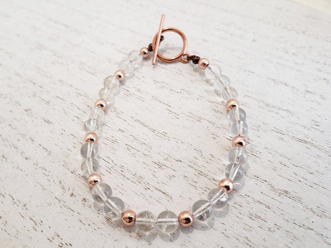 Clear Quartz Crystal with Rose Gold Bracelet - Toggle Clasp - In Gift Box - Stscking ir Layering Jewelry - Queen Bunnybee's Gifts