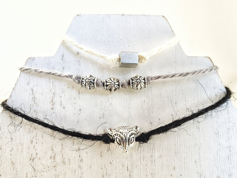 Hemp Ribbon Cord Stacked Bracelet Set of 3 - Black, Grey & White with Fox and Silver Beads - Layer - Queen Bunnybee's Gifts