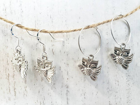 Owl Earrings - Hoops or  925 Sterling Silver Ear Wires - in Gift Bag - Queen Bunnybee's Gifts