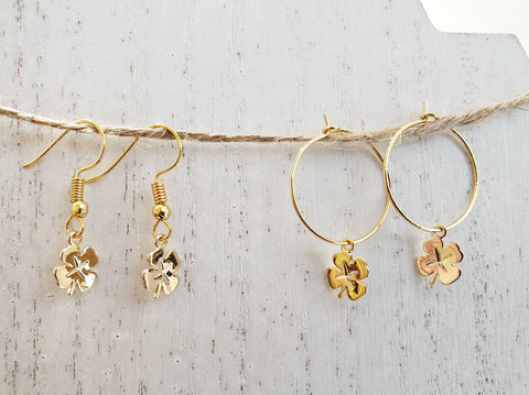 Four Leaf Clover Earrings - Gold Hoops or Ear Wires - Queen Bunnybee's Gifts