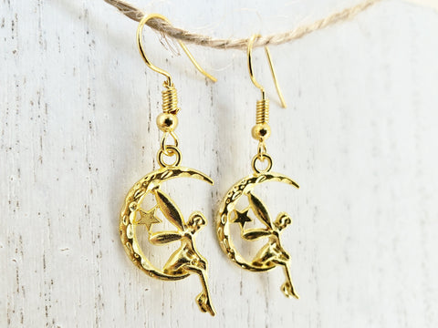 Fairy Earrings - Silver or Gold - Nickel Free - in Gift Bag - Queen Bunnybee's Gifts
