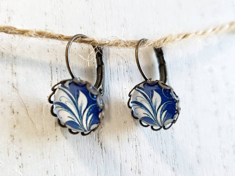 Blue & White Flower Leverback Earrings - Antique Bronze - Queen Bunnybee's Gifts