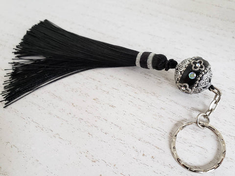 India Bead and Tassel Keychain - Black and Silver - Queen Bunnybee's Gifts