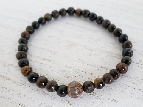 Tiger Eye and Tibetan Dzi Bead Stretchy Bracelet- 8 Inches - in Gift Bag - Queen Bunnybee's Gifts