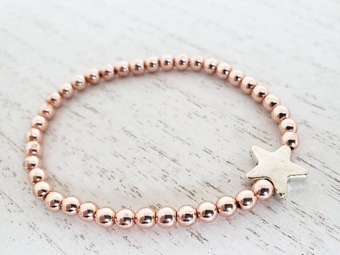 Rose Gold Hematite Beads with Silver Star Stretchy Bracelet  - 7 Inches - Queen Bunnybee's Gifts