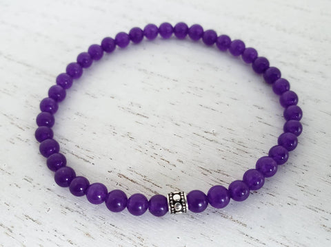 Russian Amethyst & Silver Stretchy Bracelet - Queen Bunnybee's Gifts