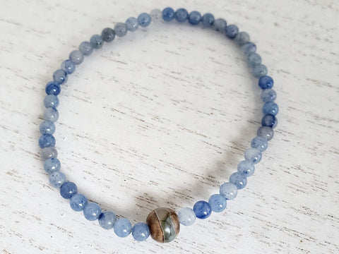 Blue Adventurine and Tibetan Dzi Bead Stretchy Bracelet - Queen Bunnybee's Gifts