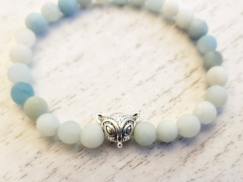Silver Fox and Matte Amazonite Bead Stretchy Bracelet - in Gift Bag - Stacking or Layering Jewelry - Queen Bunnybee's Gifts