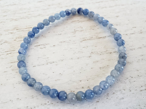 Blue Adventurine Energy Bracelet - Stacking ot Layering Jewelry - Queen Bunnybee's Gifts