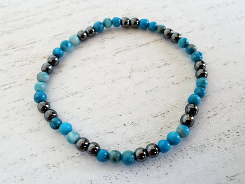 Hematite and Larimar Stretchy Bracelet - in Gift Bag - Stacking or Layering Jewelry - Queen Bunnybee's Gifts