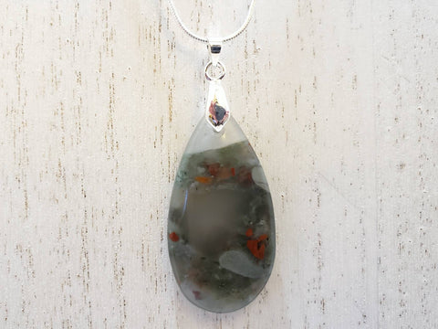 Africa Bloodstone Pendant on a Sterling Silver Necklace - Queen Bunnybee's Gifts