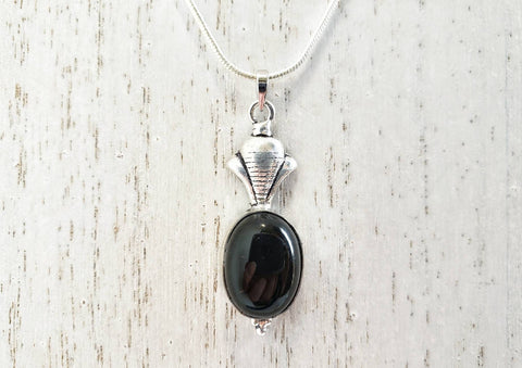 Black Onyx and 925 Sterling Silver Necklace - Queen Bunnybee's Gifts