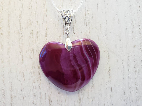 Heart Shaped Purple Striped Agate Pendant on Sterling Silver Necklace - Queen Bunnybee's Gifts