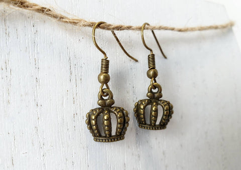 Crown Earrings - Bronze - In Gift Bag - Queen Bunnybee's Gifts