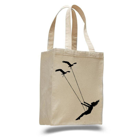 Flying bird swing- cotton canvas natural tote bag - Queen Bunnybee's Gifts