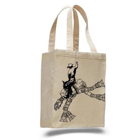Star Wars AT AT rodeo- cotton canvas natural tote - Queen Bunnybee's Gifts
