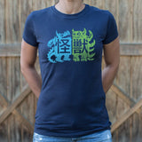 Kaiju Woodcut T-Shirt (Ladies) - Queen Bunnybee's Gifts