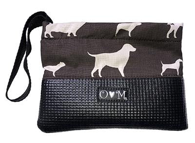 Sara Black & Brown Dog Print Clutch Purse - Queen Bunnybee's Gifts