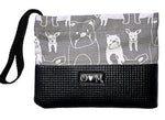 Sara Black & Grey Dog Print Clutch Purse - Queen Bunnybee's Gifts