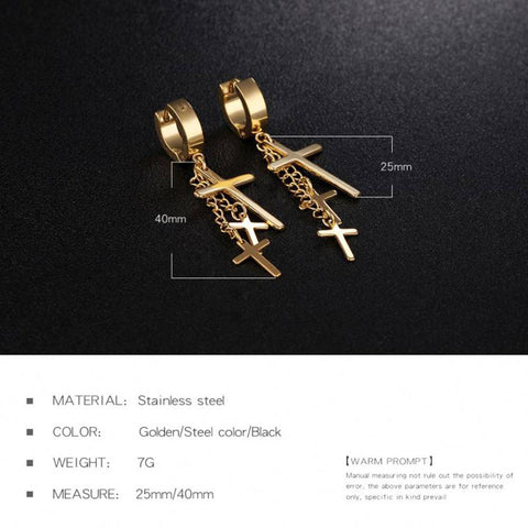 Triple Cross Pendant Earrings - Queen Bunnybee's Gifts