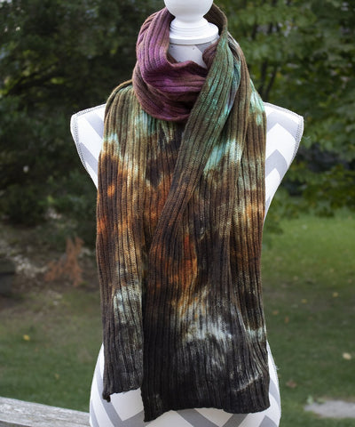 Woodlands Hand dyed Double Ribbed Scarf - Queen Bunnybee's Gifts