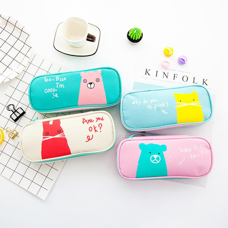 Korean  Colored Animal Funny Bear Cartoon School Pencil Case