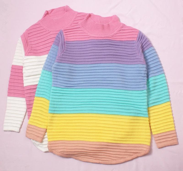 Pastel Kawaii Aesthetic Pink Rainbow Mockneck Sweater
