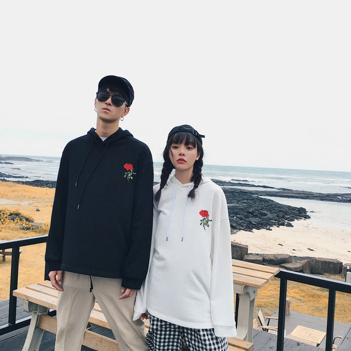 Embroidered Rose White Flying Aesthetic Couple Cool Hoodie